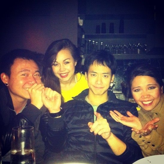 "(cr. Katie Lee Hill) ""out to dinner after 2 shows!"