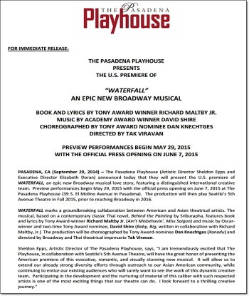 Page 1 of WATERFALL press release from the Pasadena Playhouse